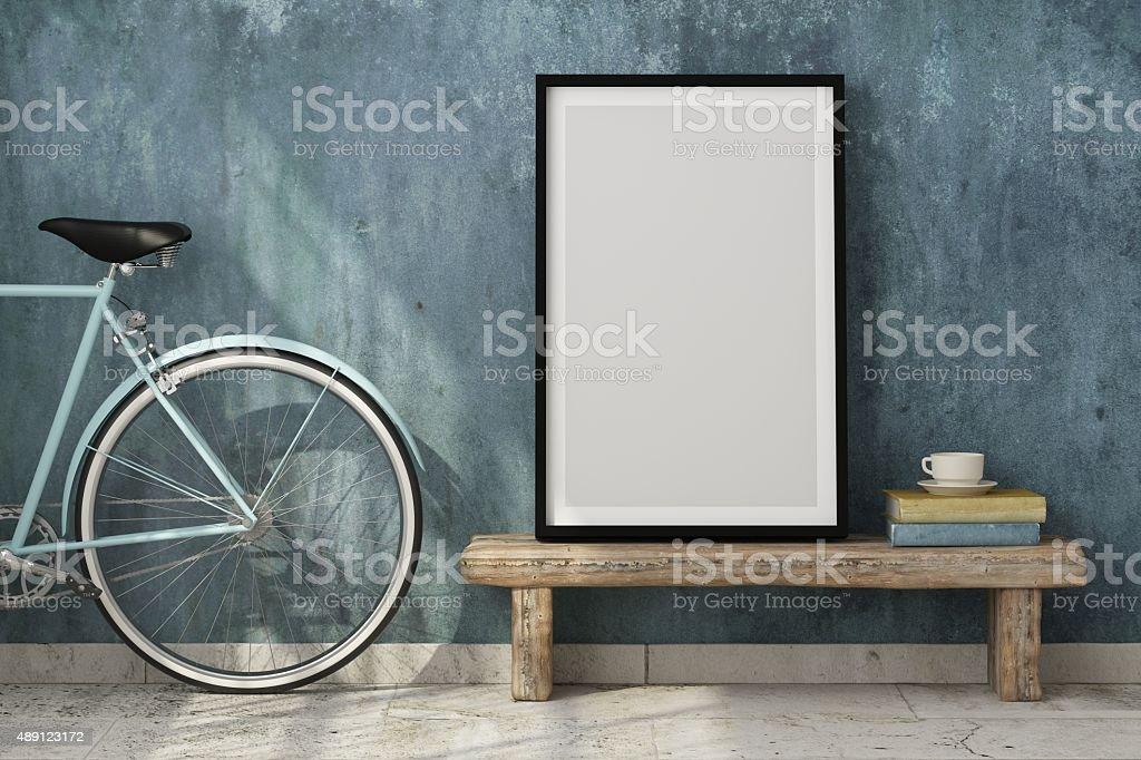 Escena de diseño de interiores con bastidor blanco - foto de stock