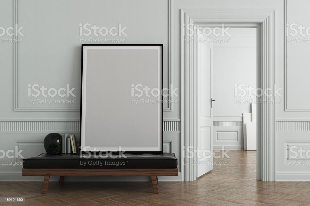 Interior scene with blank frame stock photo