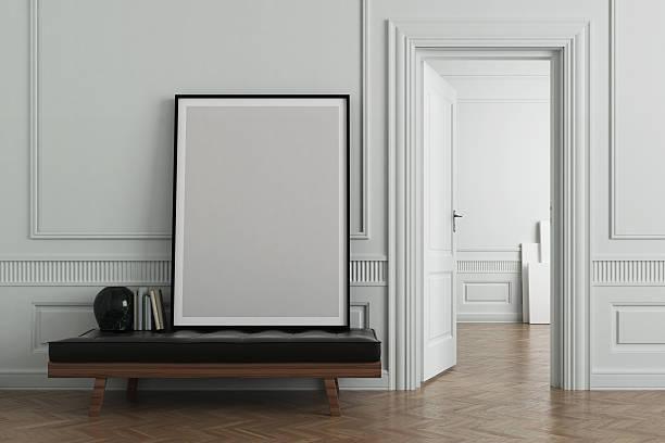 Interior scene with blank frame stock photo