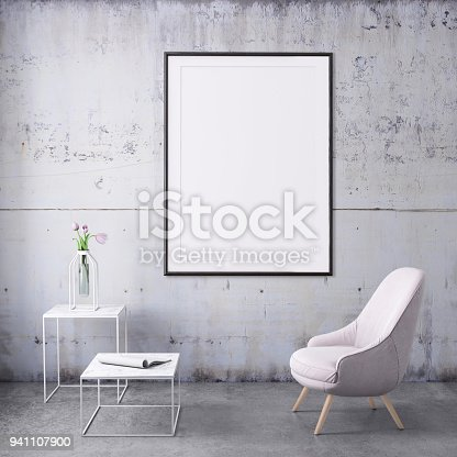 Interior scene with pink colored armchair and picture frame template for copy space. Grey wall, concrete floor, coffee table and vase with a plant. Mock up for design.