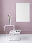Interior scene with pastel colored wall and picture frame template