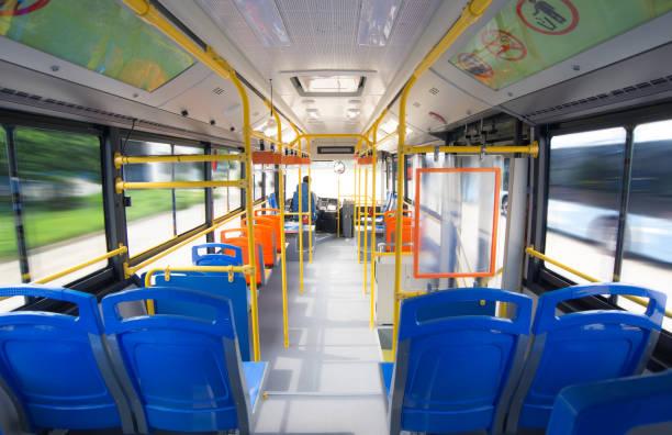 innenaufnahmen von elektrobussen - bus stock-fotos und bilder