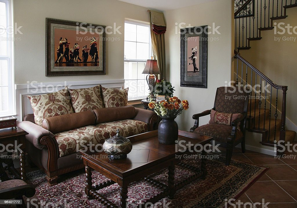 Interior shot of an upscale living room royalty-free stock photo
