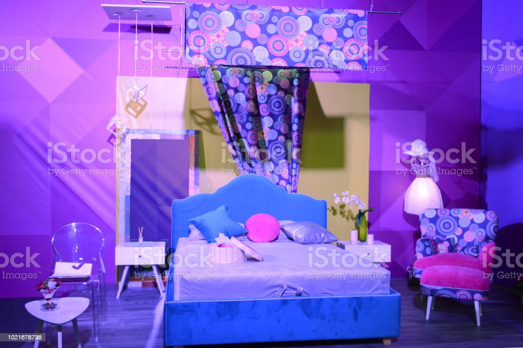Interior Show Bedroom Modern Design In Ultra Violet Colors Stock Photo Download Image Now Istock