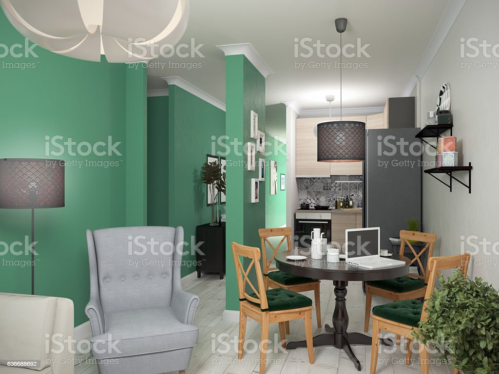 Interior small apartments. 3d illustration stock photo