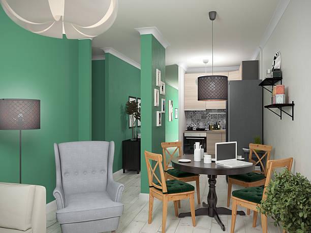 Interior small apartments. 3d illustration stock photo