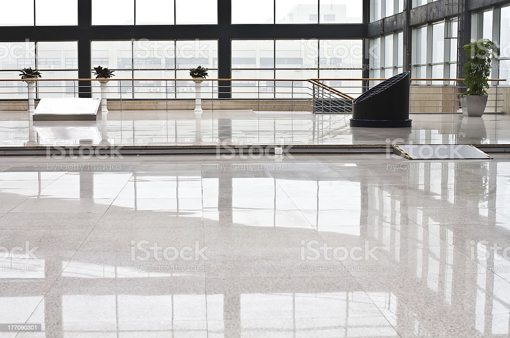 Interior space of entrance lobby in modern office building royalty-free stock photo