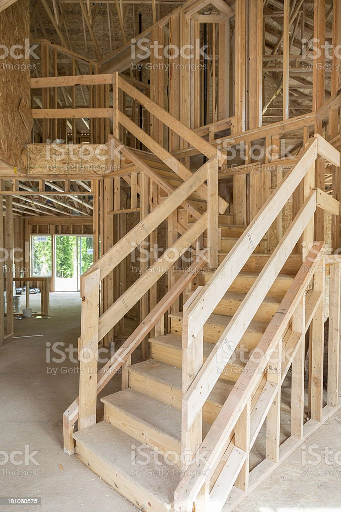 Interior stairway of a house under construction royalty-free stock photo
