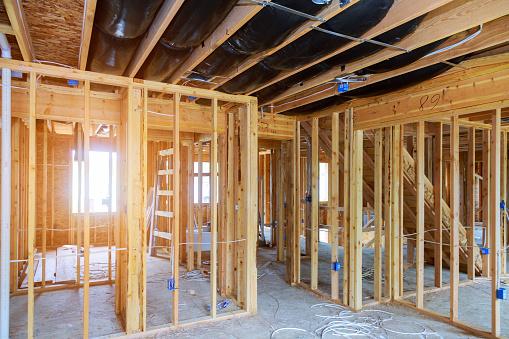 Interior stick built frame of a new house under construction