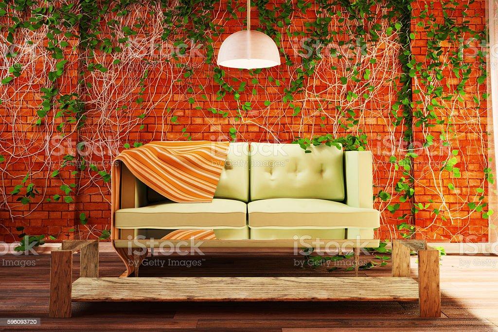 Interior style loft with decorations of ivy. 3d illustration Lizenzfreies stock-foto