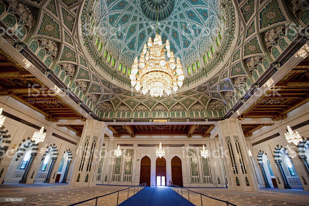 Interior Sultan Qaboos Grand Mosque Praying Hall stock photo