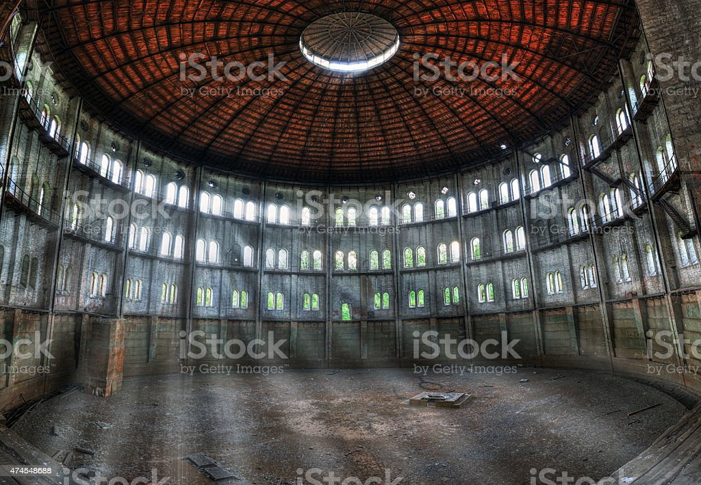 Interior the old destroyed an abandoned gasworks stock photo