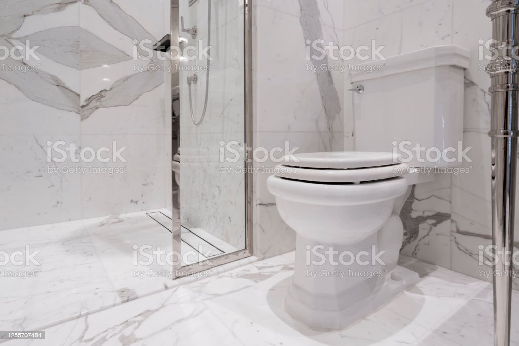 Interior Toilet Design With White Marble Stone And Accessory Fitting Home Design Concept Stock Photo Download Image Now Istock