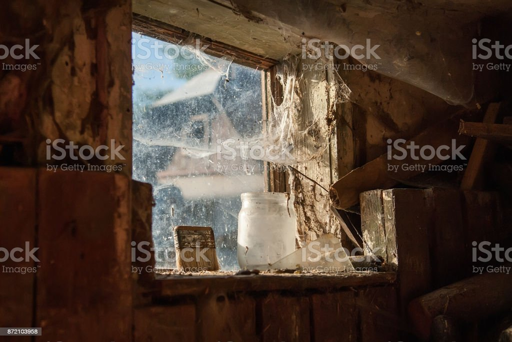 Interior view of a barn window stock photo