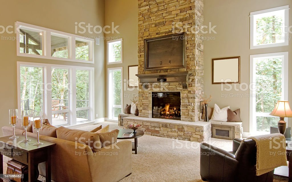 Interior view of a cozy living room stock photo