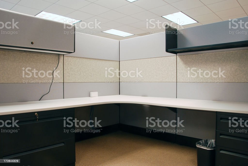 Interior view of a empty cubicle stock photo