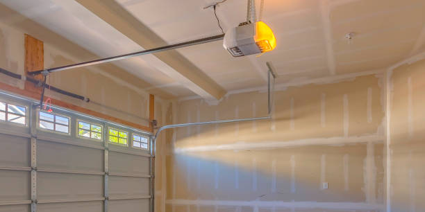Interior view of a garage under construction stock photo