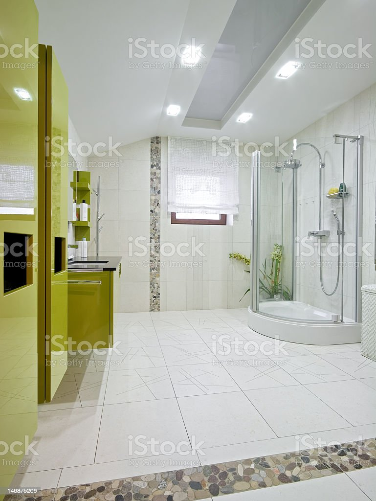 Interior view of a large bathroom royalty-free stock photo
