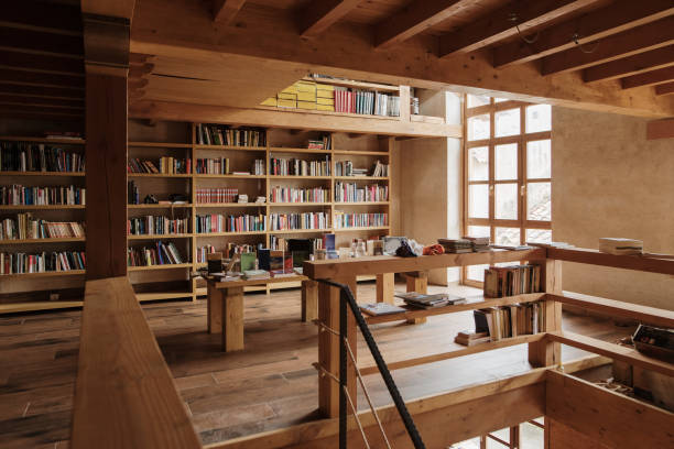 Interior view of a library stock photo