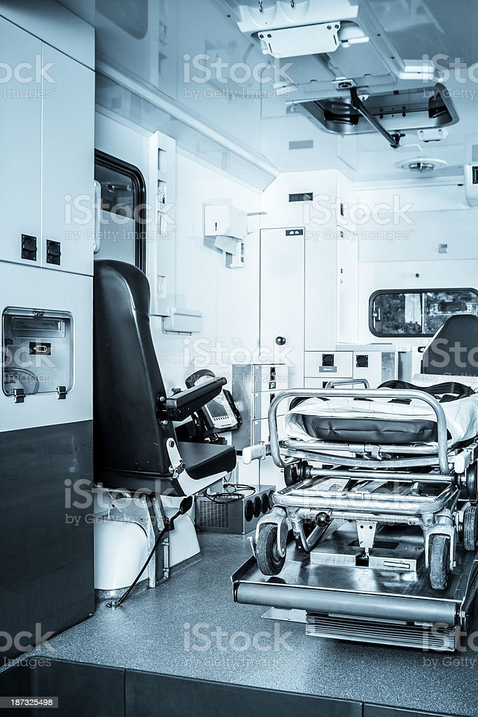 Interior view of a modern ambulance royalty-free stock photo