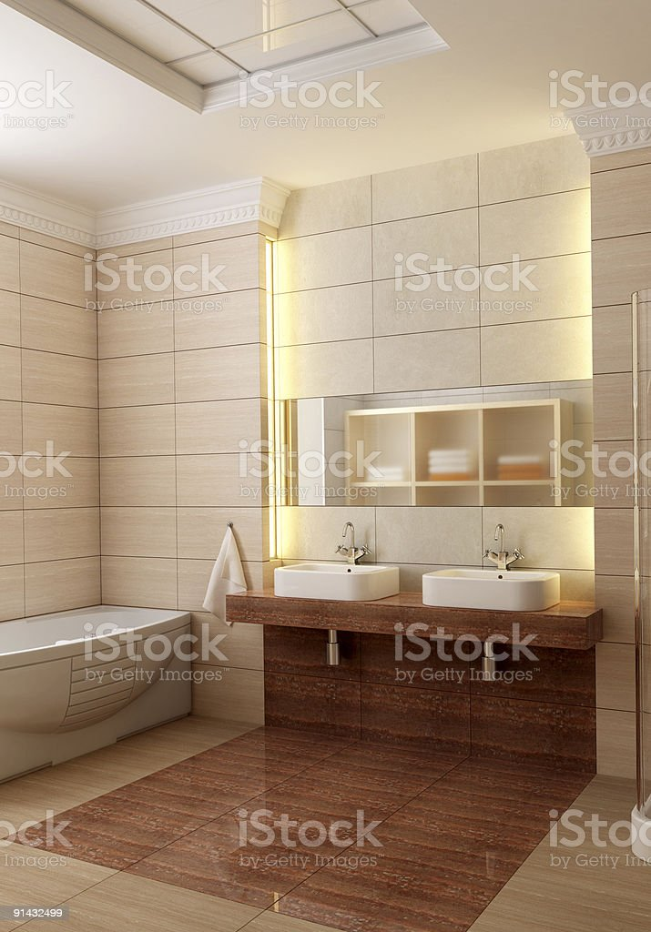 Interior view of a modern bathroom stock photo