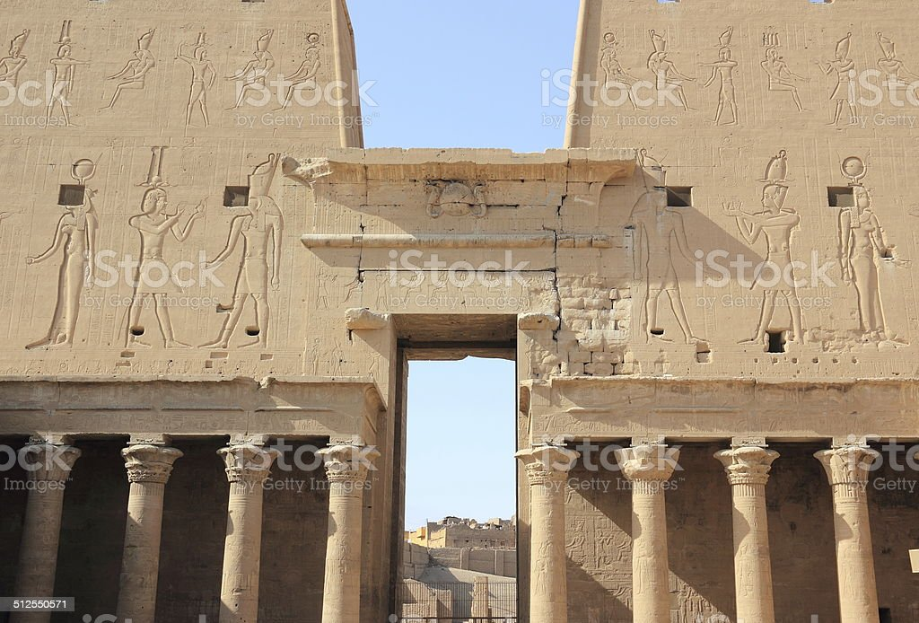 Interior view of a pylon of Edfu. Temple of Edfu. stock photo