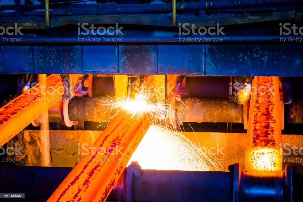 interior view of a steel factory stock photo