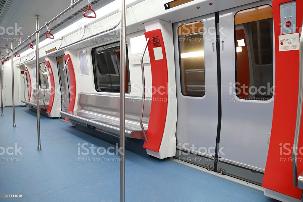 Interior view of a subway car in China stock photo