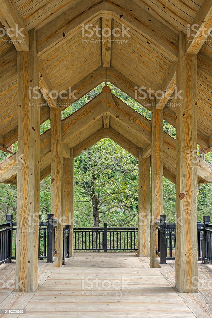 Interior view of a wooden pavilion stock photo