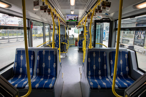 Interior view of an empty Metrobus. stock photo