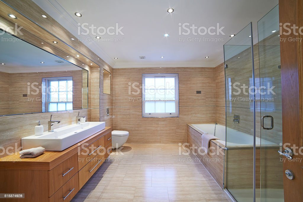 Interior View Of Beautiful Luxury Bathroom stock photo