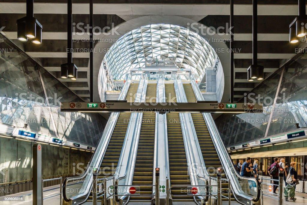 Interior view of Bikas Park Station, a 'r'nBudapest Metro station i stock photo