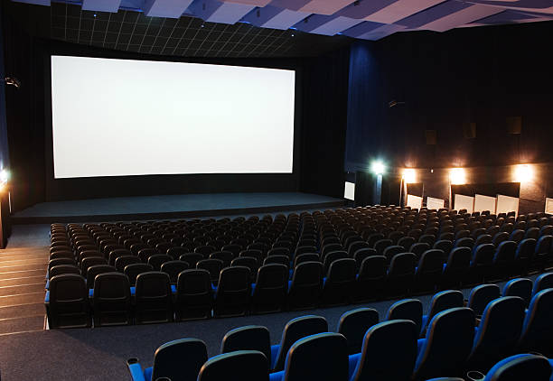 interior view of cinema theater - projection screen stock photos and pictures