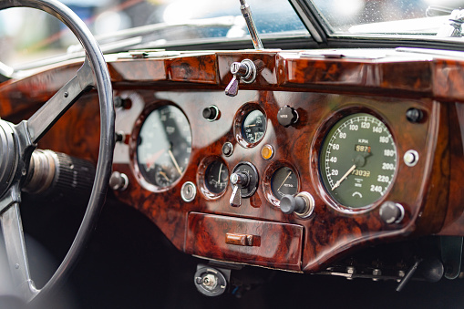 Interior view of classic vintage car