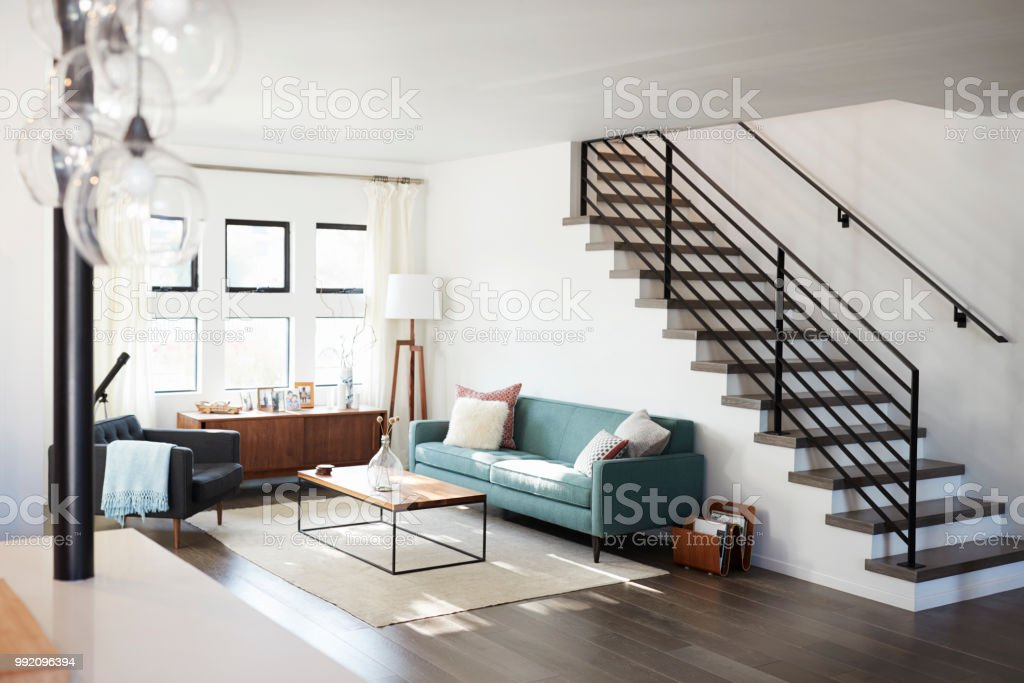 Interior View Of Contemporary Lounge With Staircase stock photo