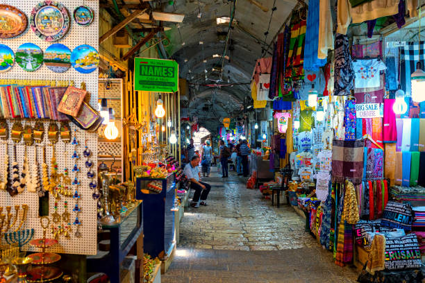 Interior view of famous bazaar in Old City of Jerusalem. stock photo