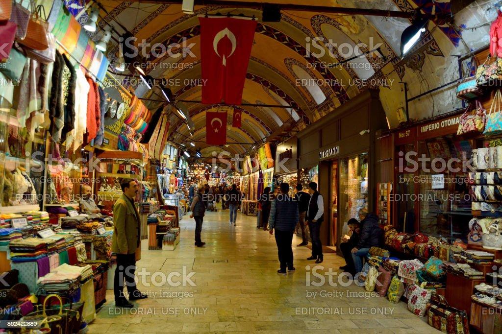 Interior view of Grand Bazaar in Istanbul stock photo