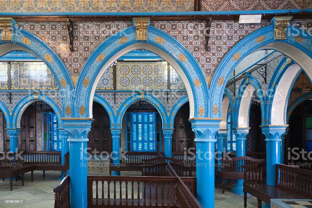 Interior view of La Ghriba Synagogue on island of Djerba stock photo