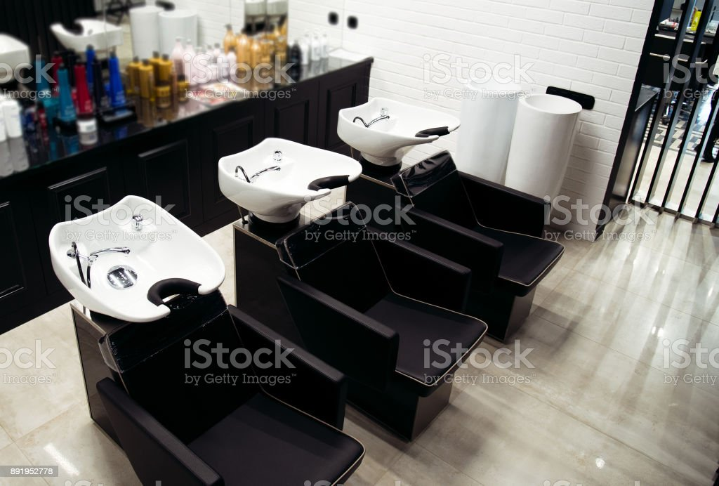 Interior view of luxury beauty and barbershop salon stock photo