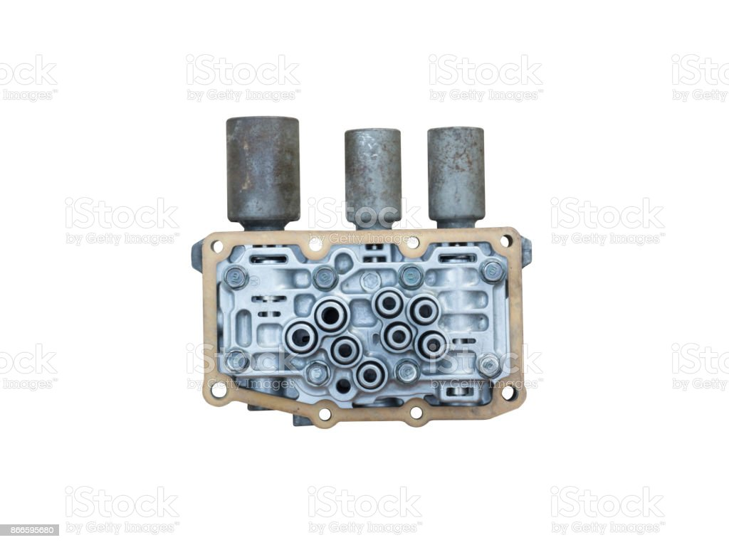 Interior view of old Transmission Linear Shift Solenoid isolated. stock photo