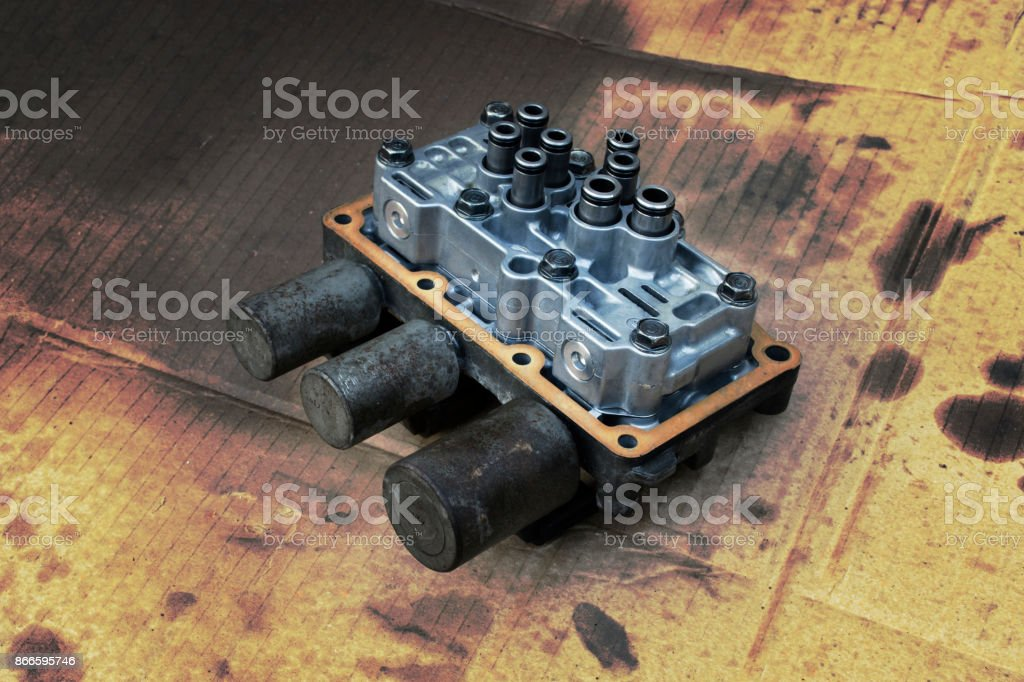 Interior view of old Transmission Linear Shift Solenoid. stock photo