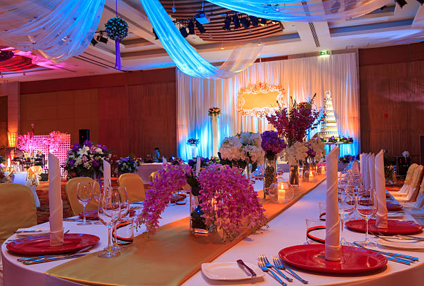 interior view of ornately decorated wedding hall - entertainment building stock pictures, royalty-free photos & images