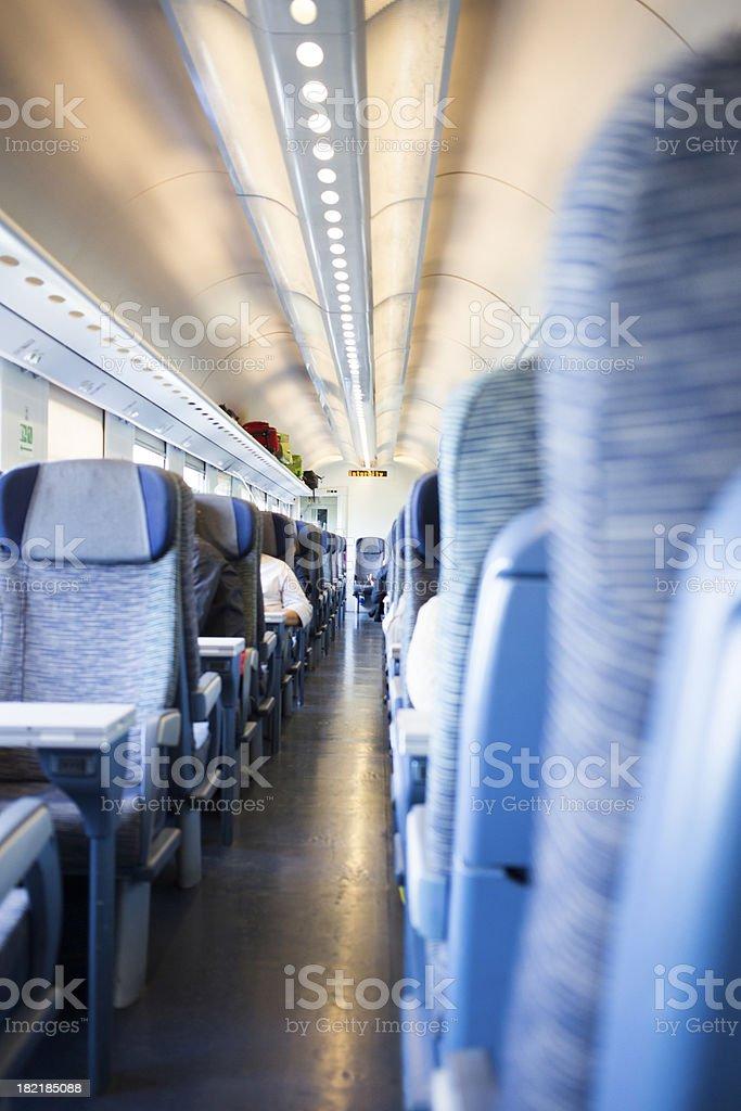 Interior view of passenger train stock photo
