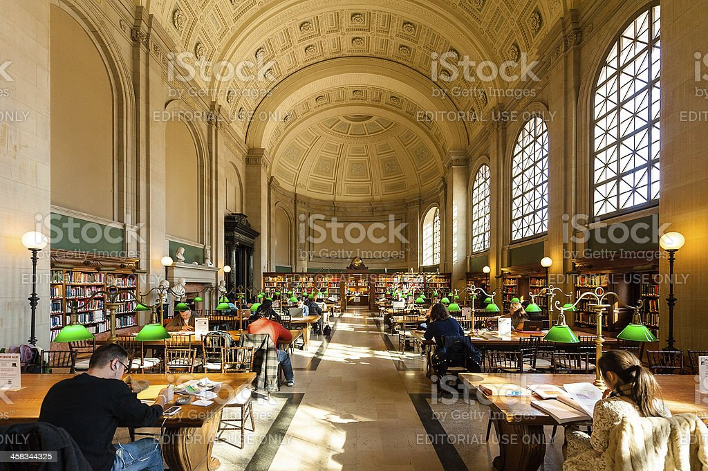 Interior view of reading area Boston Public Library royalty-free stock photo
