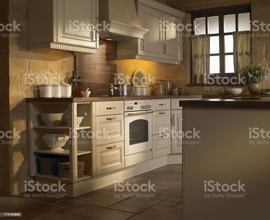 Vista Interna Della Cucina Tradizionale Stile Rustico Paese ...