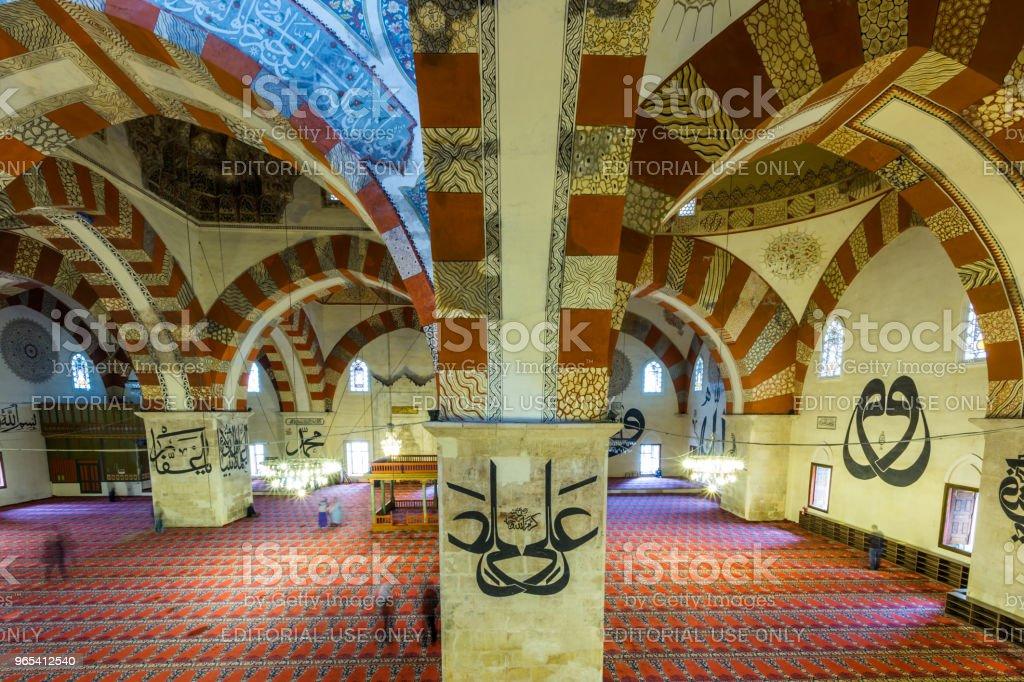土耳其 Edirne Selimiye 清真寺的內部景觀 - 免版稅人圖庫照片