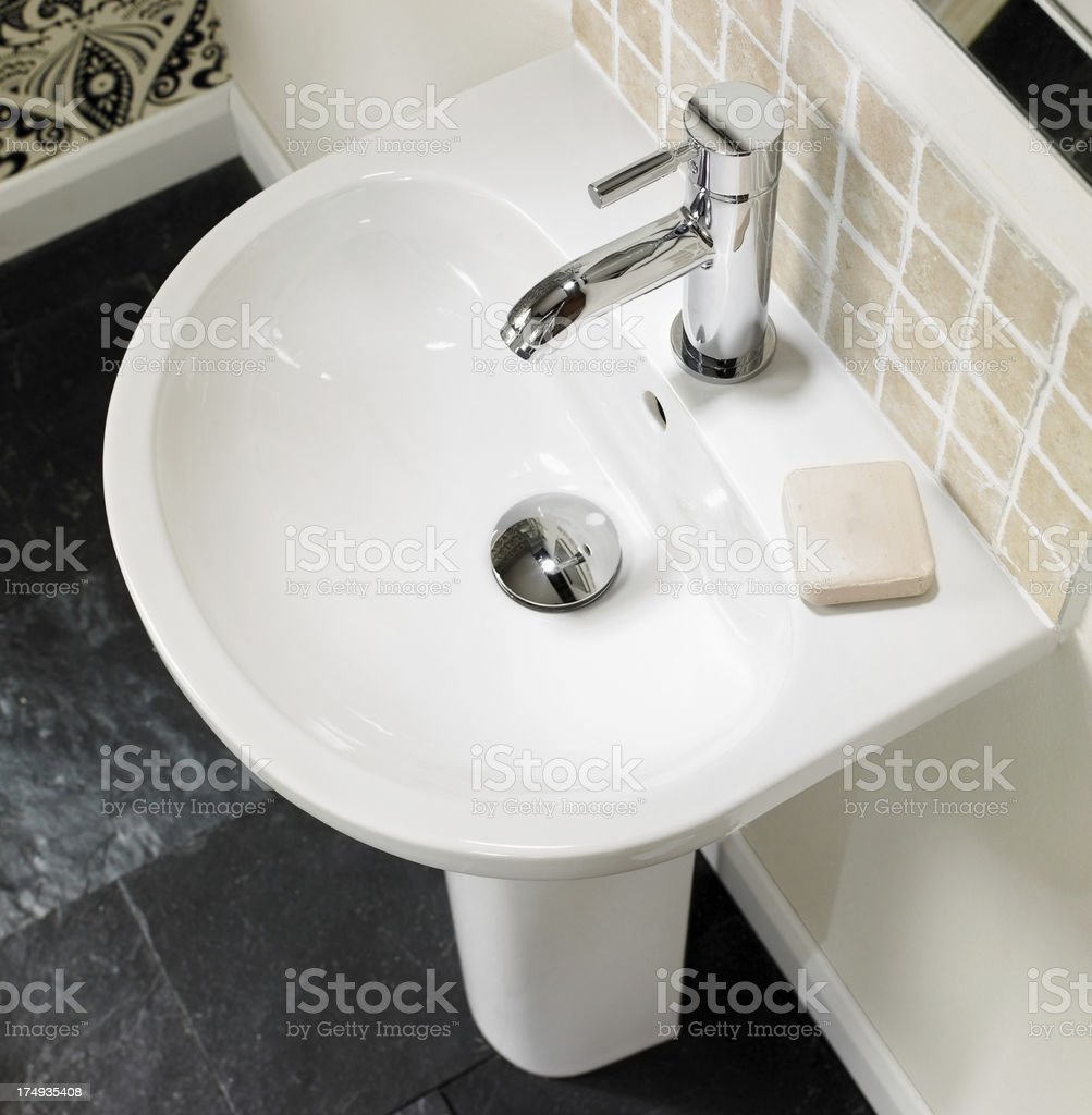 Interior view of sink in a bathroom royalty-free stock photo