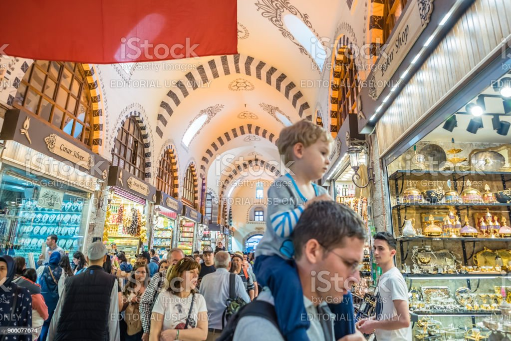 Interior view of  Spice or Egyptian Bazaar in Istanbul - Стоковые фото Базар роялти-фри