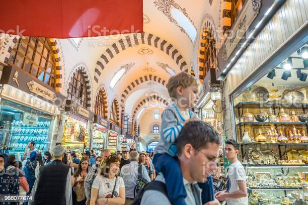 Interior View Of Spice Or Egyptian Bazaar In Istanbul — стоковые фотографии и другие картинки Базар