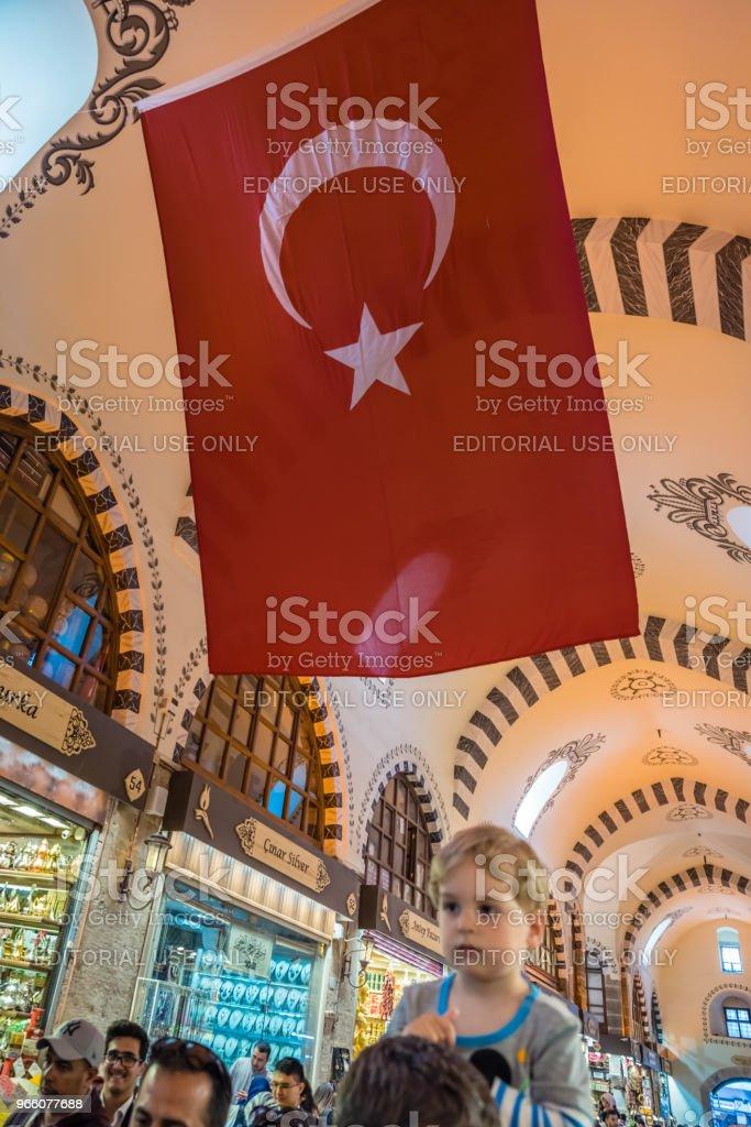 Binnenaanzicht van Spice of Egyptische Bazaar in Istanbul - Royalty-free Bazaar Stockfoto